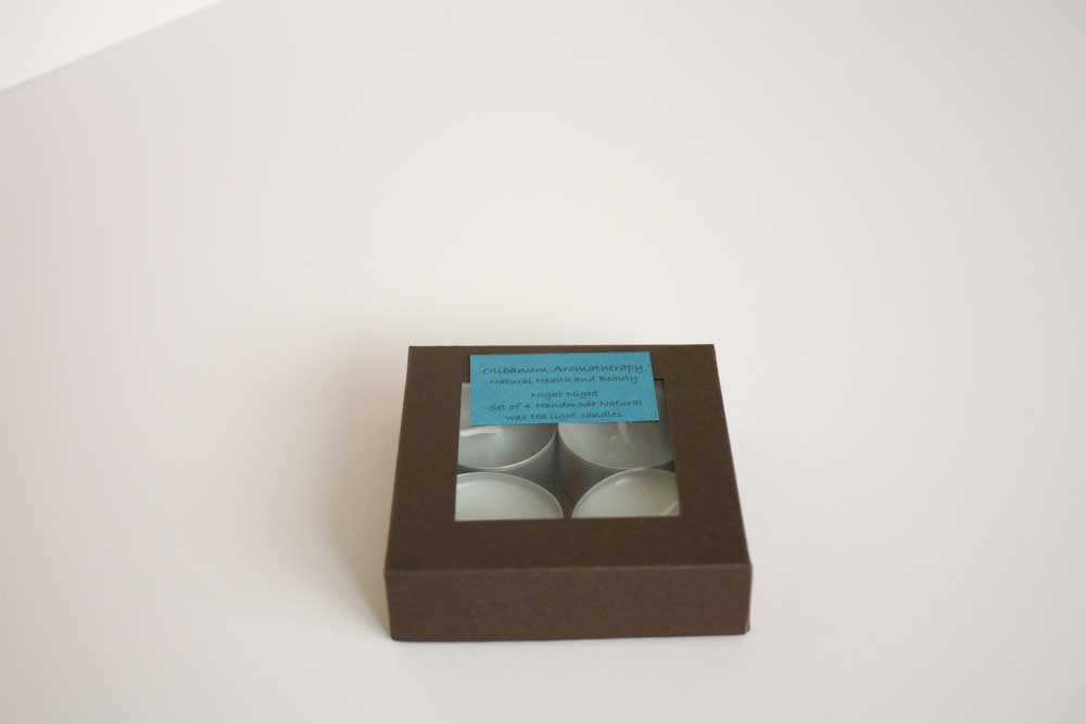 Natural wax tea light candles set of 4 in Night Night, handmade by Olibanum Aromatherapy in the UK