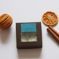 Natural wax tea light candles set of 4 in Winter Warmer, handmade by Olibanum Aromatherapy in the UK